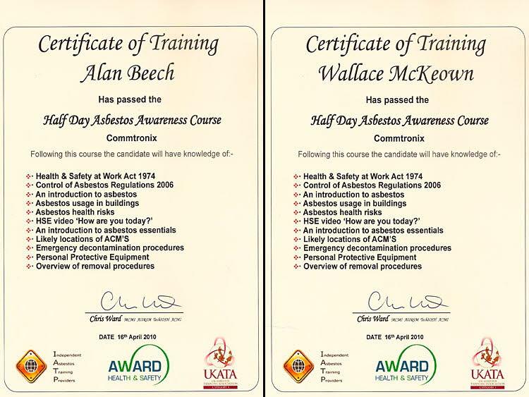 asbestos awareness certificates